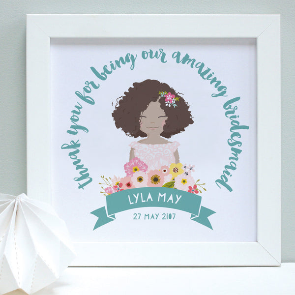 personalised aqua flower girl portrait print