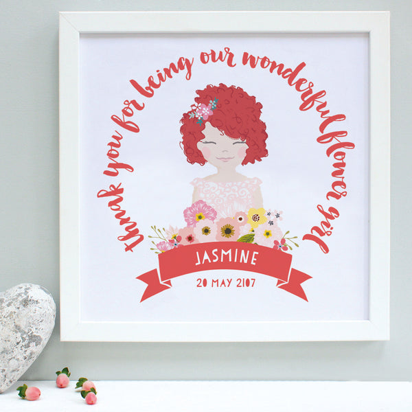 personalised coral flower girl portrait print