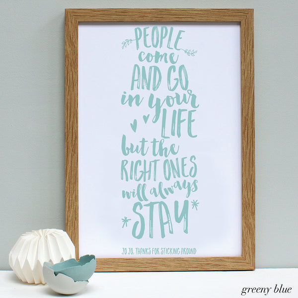 personalised greeny blue friend quote print, oak frame