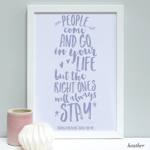 personalised heather friend quote print, white frame