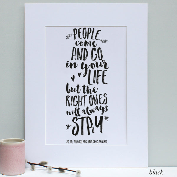 personalised black friend quote print, white mount
