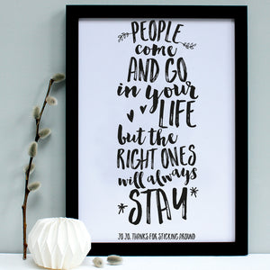 personalised black friend quote print, black frame