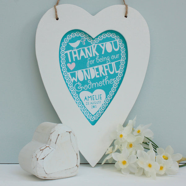 personalised aqua godparents print, white heart frame