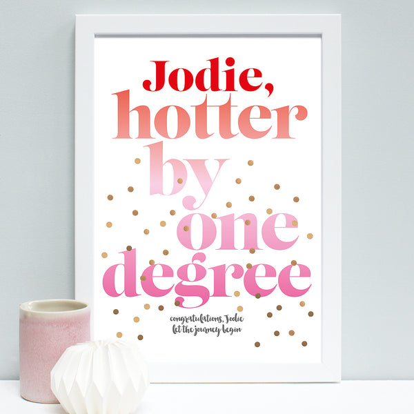 personalised graduation print, white frame