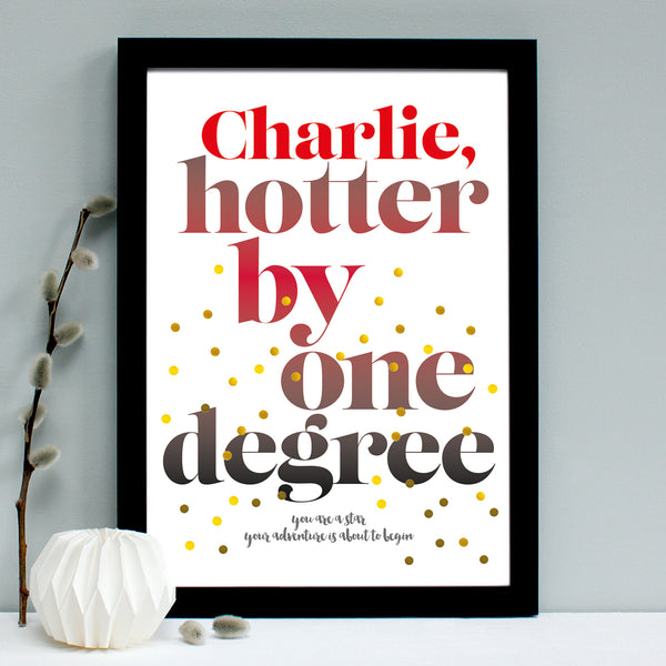 personalised graduation print, black frame