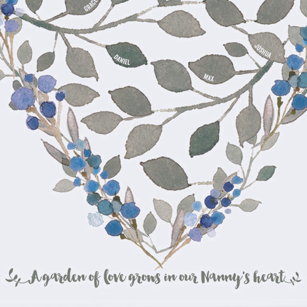 personalised grandmother heart print, close up