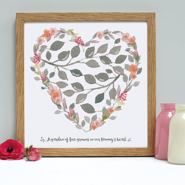 personalised grandmother heart print, peach, oak frame