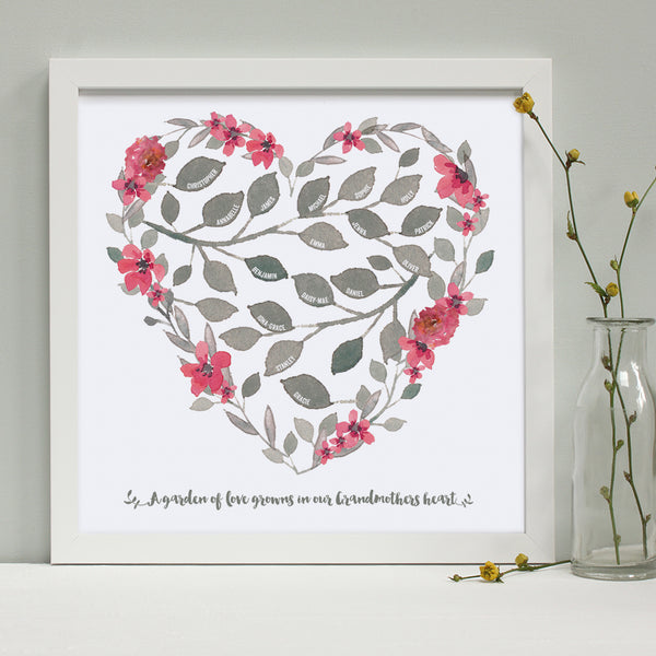 personalised grandmother heart print, dark pink flowers, white frame