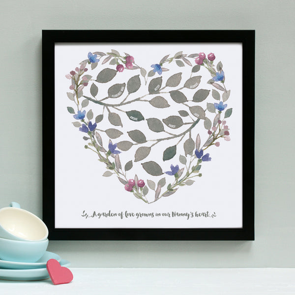 personalised grandmother heart print, purple and blue, black frame