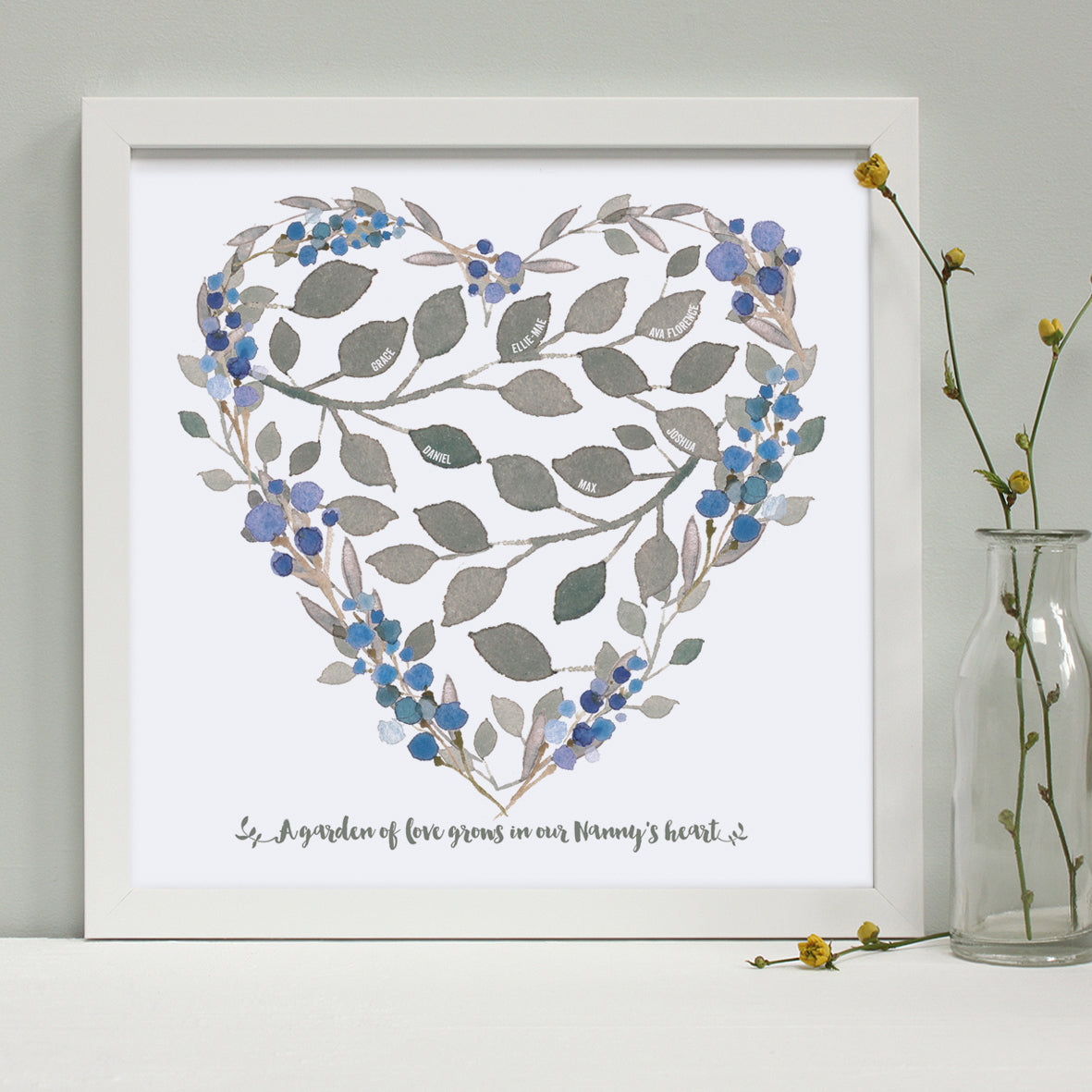 personalised grandmother heart print, white frame