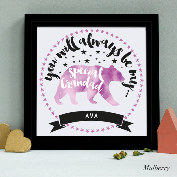 personalised grandfather bear print, black frame