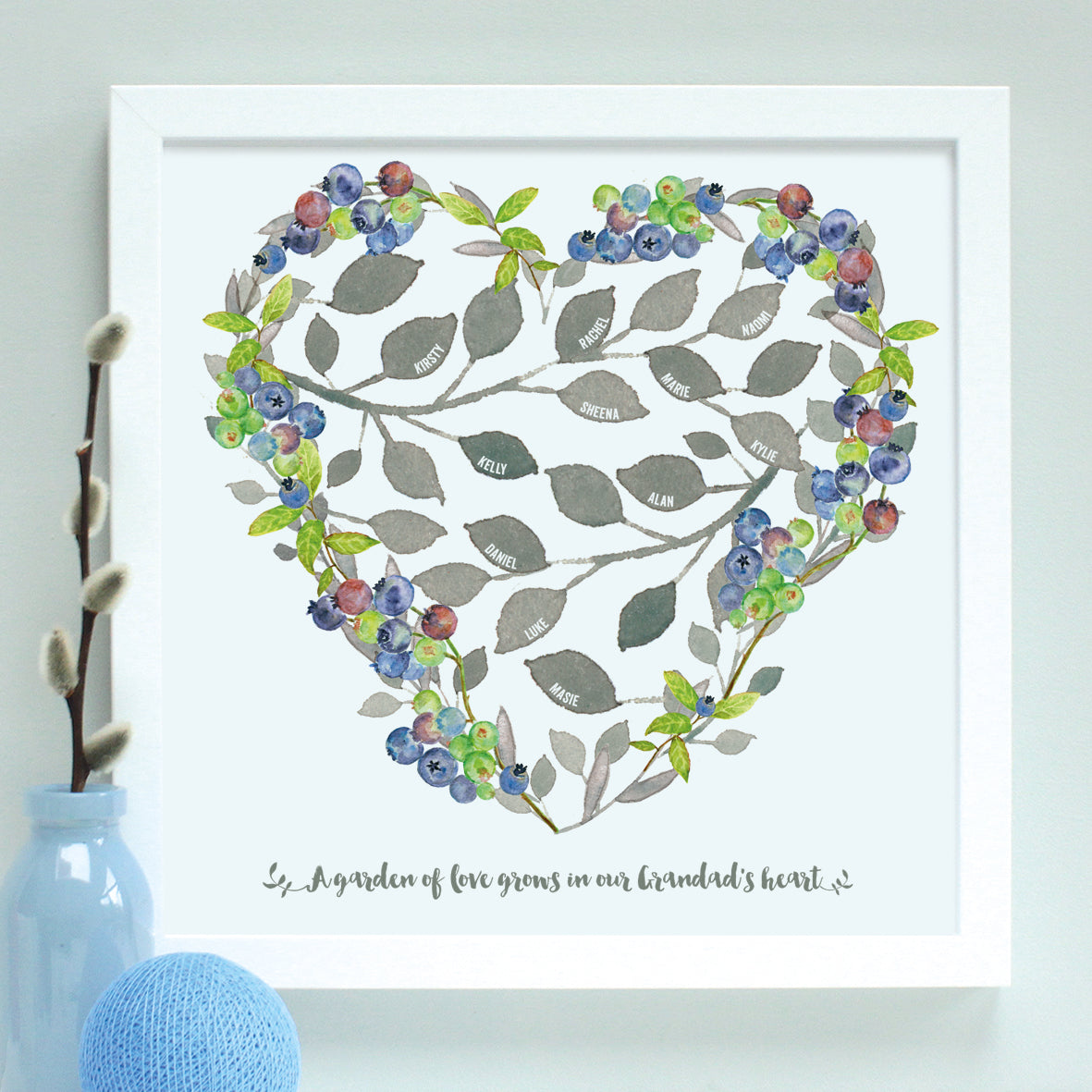 personalised grandfather heart family tree, white frame
