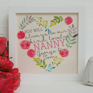 personalised roses floral heart for nanny, white frame