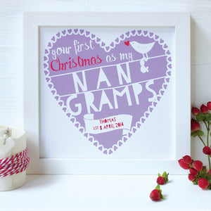 personalised nan and gramps first christmas print