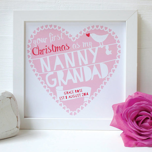 personalised nanny and grandad first christmas print
