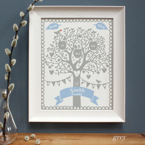 grey family tree in a white frame