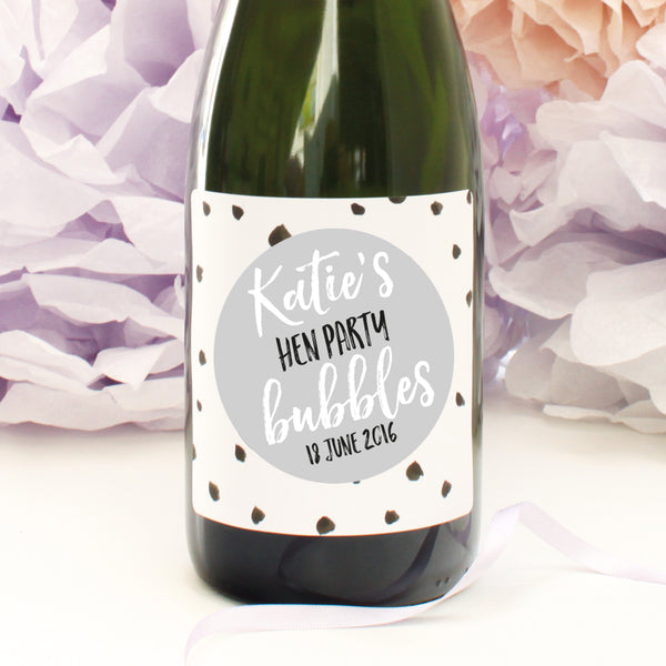 personalised hen party champagne labels, dove