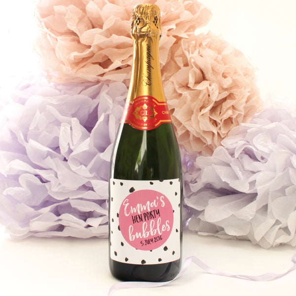 personalised hen party champagne labels, raspberry