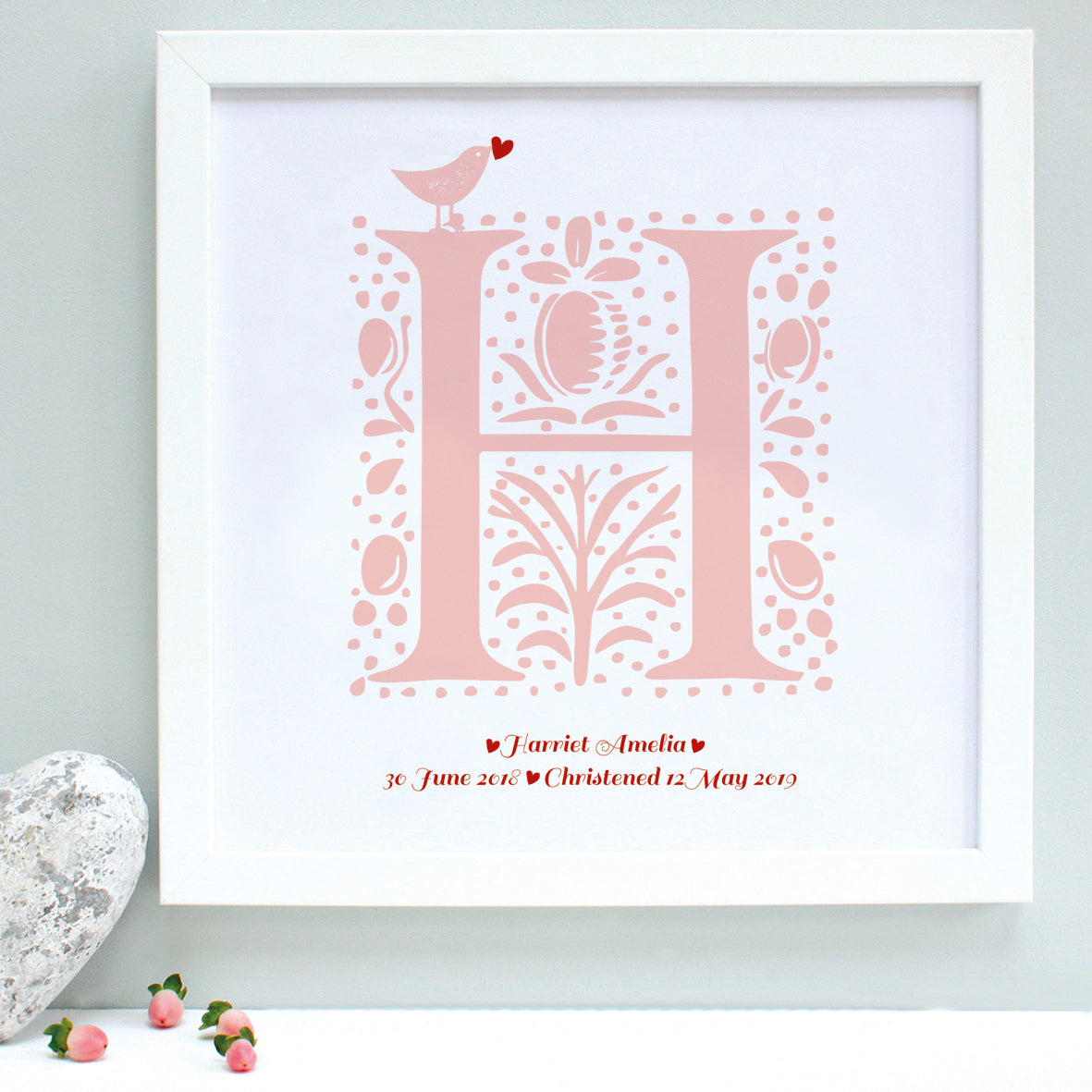 Personalised New Baby Letter Framed Print