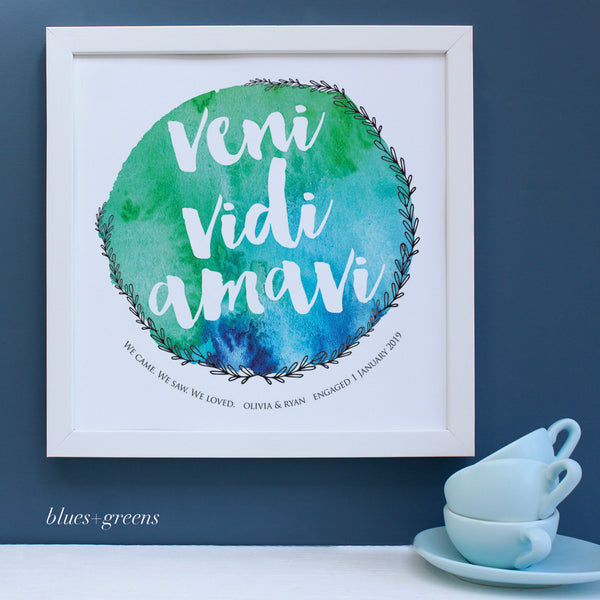 Personalised latin engagement print, blues and greens