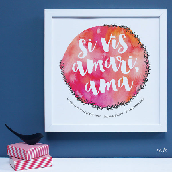 Personalised latin engagement print, reds