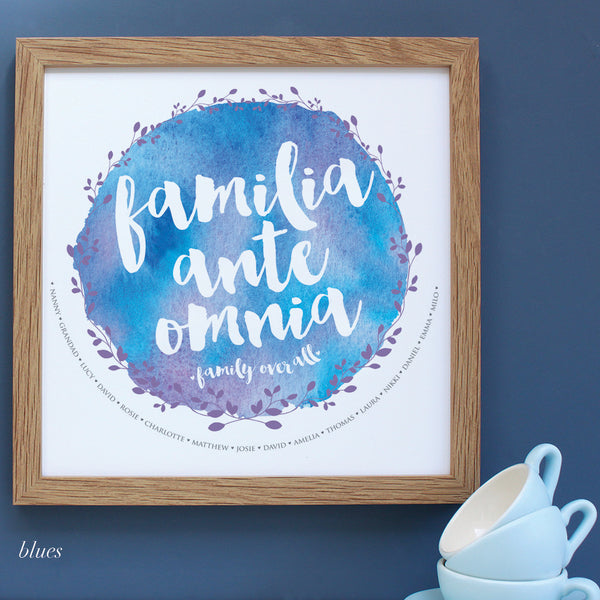 personalised blues watercolour family tree, oak frame