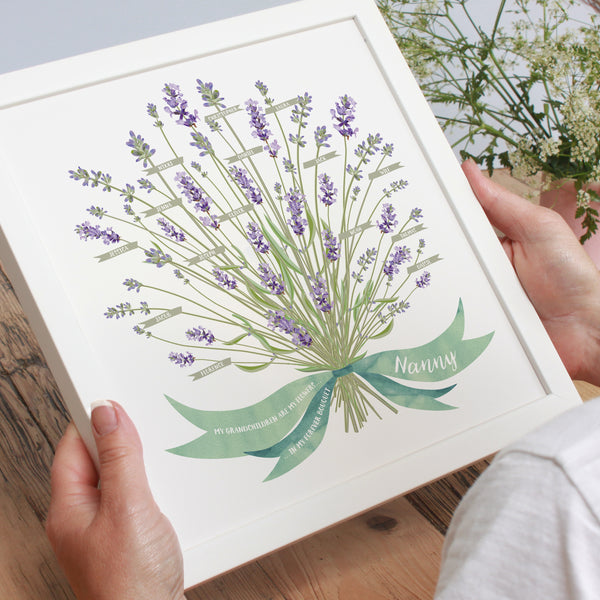 Personalised Lavender Grandparents Framed Print