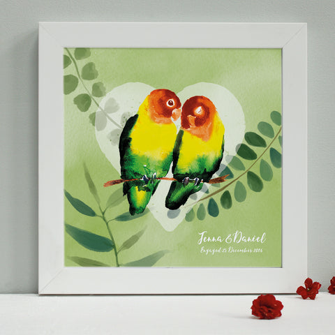 personalised tropical green lovebirds engagement print, white frame