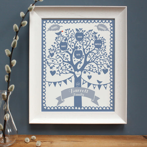 personalised blue illustration of family tree in white frame