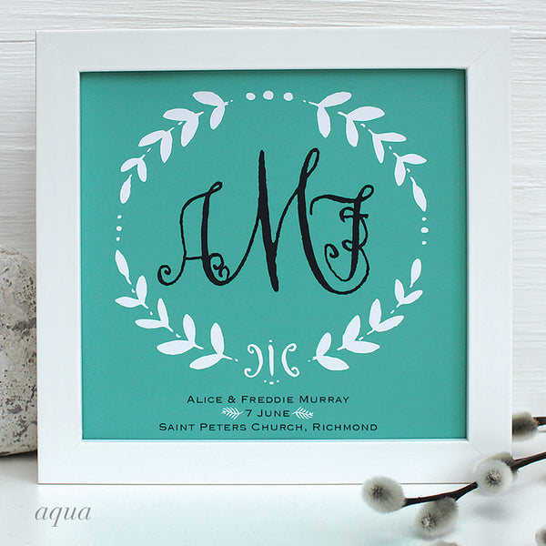 Personalised Vintage Monogram Wedding Framed Print