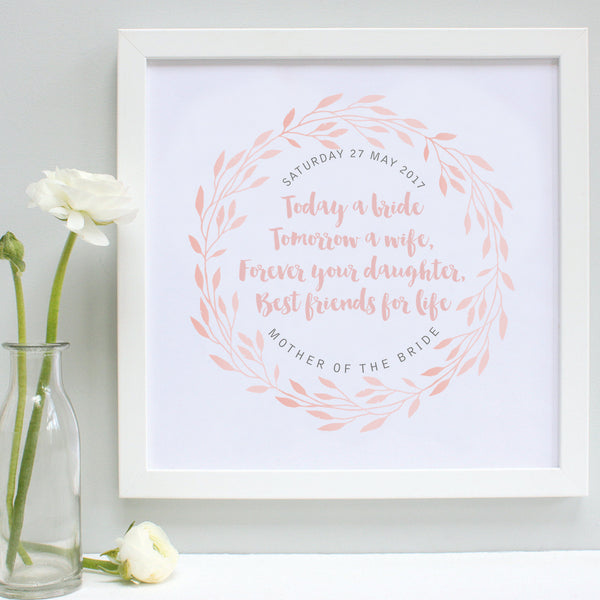 personalised mother of the bride print, blush