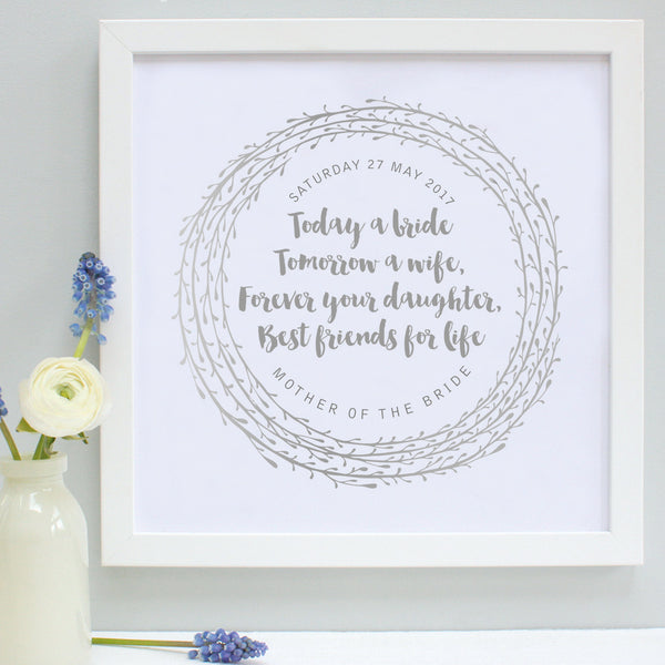 personalised mother of the bride print, dove grey