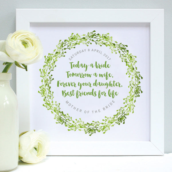 personalised mother of the bride print, greens