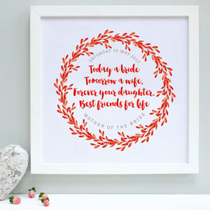 personalised mother of the bride print, reds