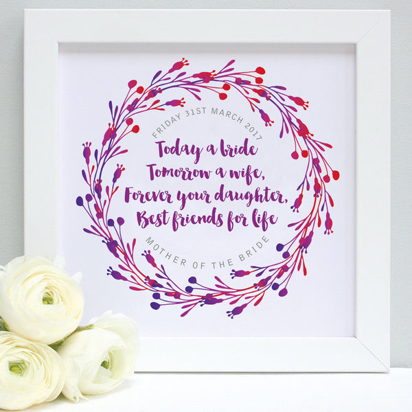 personalised mother of the bride print, reds and purples