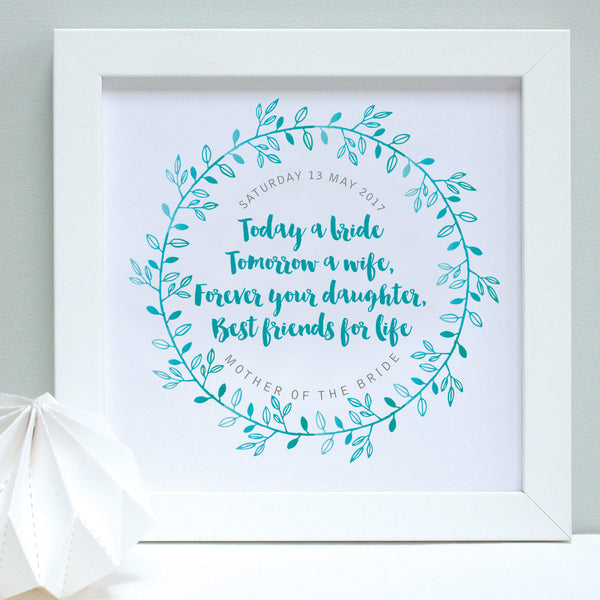 personalised mother of the bride print, turquoise