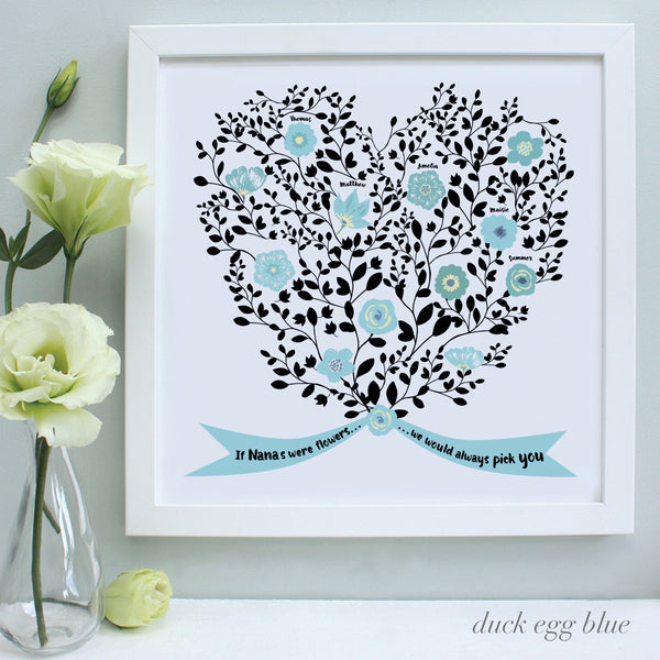 personalised mother bouquet print, duck egg blue