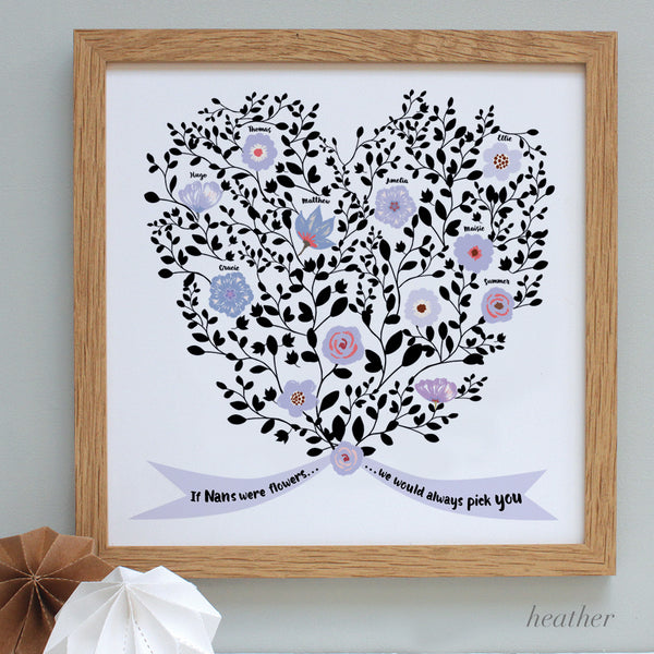 personalised mother bouquet print, heather