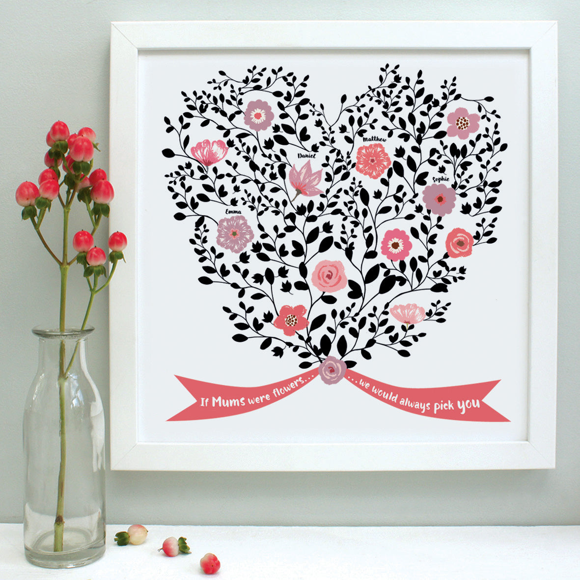 personalised mother bouquet print, coral