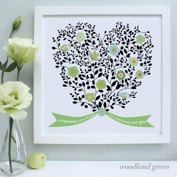 personalised mother bouquet print, woodland green