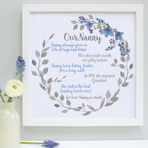 personalised nanny favourite things print