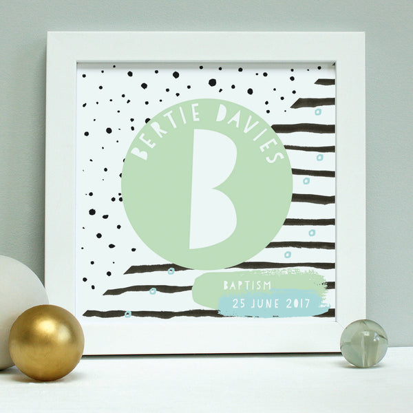 personalised naming day print, mint