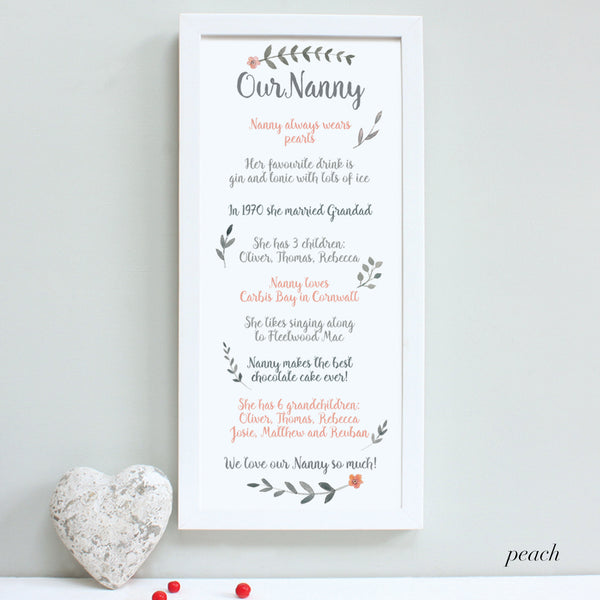 Personalised Our Nanny Framed Print