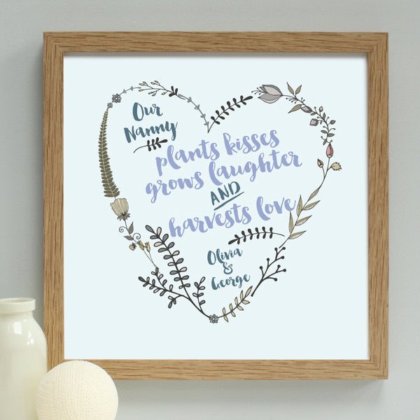 personalised grandmother garden heart, oak frame