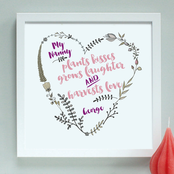 personalised grandmother garden heart, white frame