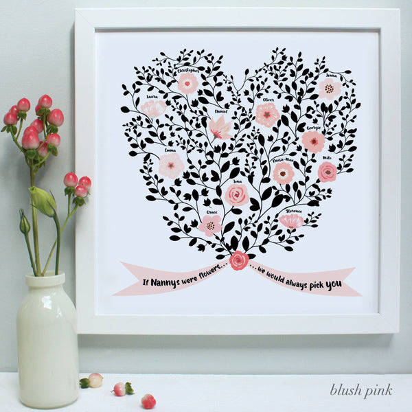 personalised mother bouquet print, blush