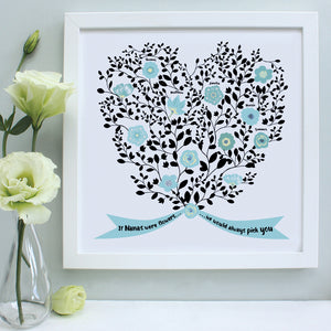 personalised nanny bouquet of grandchildren print