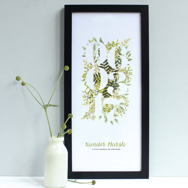 personalised new baby floral print, green flowers