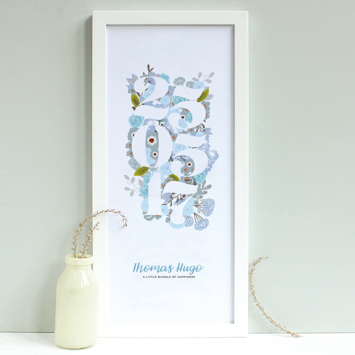 personalised new baby floral print