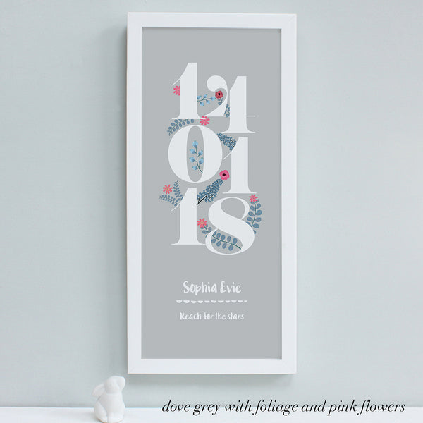 personalised new baby floral dates print, dove grey
